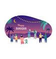 ramadan kareem eid mubarak greeting card vector image