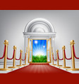 red carpet door to your future vector image vector image
