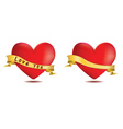 Red hearts with ribbon vector image vector image