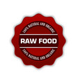 red raw food badge on white background vector image vector image