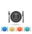 restaurant free wi-fi zone plate fork knife vector image vector image