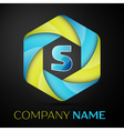 S Letter colorful logo in the hexagonal on black vector image vector image
