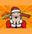 santa claus surprised pop art retro comic style vector image vector image