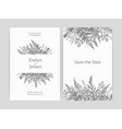 set floral wedding invitation and save date vector image vector image