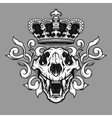 The crown and the lion skull vector image vector image