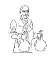 Thief cartoon with money bag design vector image vector image