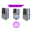 thin blue line us flag flag with police blue line vector image vector image
