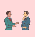 two businessmen talking multi ethnic group vector image