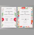 wedding with floral background vector image vector image