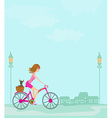 woman riding a bike in the city vector image vector image