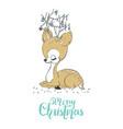 christmas of a cute little deer merry christmas vector image
