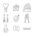 Set of line valentine day icon Flat design vector image