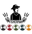 fisherman and icons set vector image