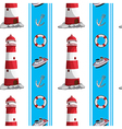 A seamless design with lighthouses and other vector image vector image