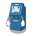 afraid atm machine next to character table vector image vector image