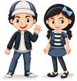 asian boy and girl waving hello vector image vector image