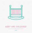 Baby crib thin line icon