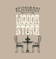 banner for liquor store with a table for vector image