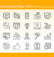 blogging online simple black line icons set vector image vector image