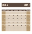 Calendar July 2016 week starts from Sunday vector image