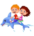 Cartoon Boy and girl riding a dolphin vector image vector image