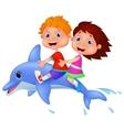 Cartoon Boy and girl riding a dolphin vector image vector image