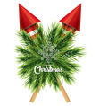 Christmas card with white snowflake pine branch vector image vector image