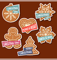 christmas stickers collection with christmas vector image vector image