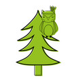 color ethnic owl animal in pine tree vector image vector image