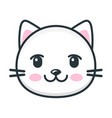 cute cartoon cat face icon on white background vector image vector image