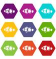 cute clown fish icon set color hexahedron vector image vector image