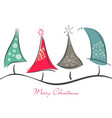 cute decorative christmas trees vector image