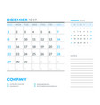 december 2019 week starts on sunday calendar vector image vector image