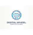 digital steer wheel creative symbol concept vector image vector image