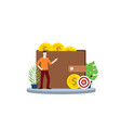 financial target personal with wallet and gold vector image