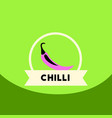 flat icon design collection chilli emblem vector image