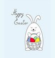 funny easter bunny keeping a basket vector image