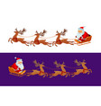 funny santa claus is riding in a sleigh christmas vector image vector image