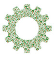gear mosaic of plant tree icons vector image