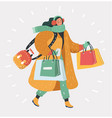 girl with shopping bags going home from shop vector image vector image
