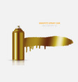 golden graffiti spray paint can with splash vector image vector image
