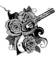 guns and rose flowers drawn in tattoo style vector image