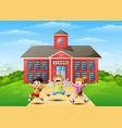happy school children jumping in front of school b vector image vector image