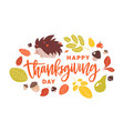 happy thanksgiving day handwritten with cursive vector image vector image