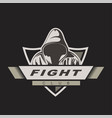 hooded man mix fight logo template fight club vector image