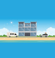 hotel building near sea or seafront resort view vector image