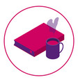 icon book and hot drink reading with a vector image