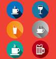 Icons in a flat design glasses mugs vector image