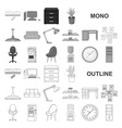 interior of the workplace monochrom icons in set vector image vector image
