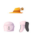 isolated object of headgear and cap symbol vector image vector image